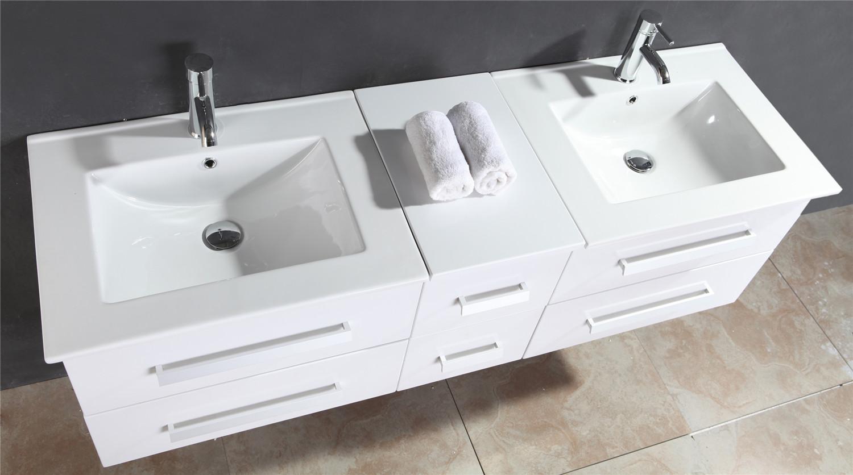 Mobile Bagno Arredo Bagno 150 cm Doppio lavabo incluso - White Rome