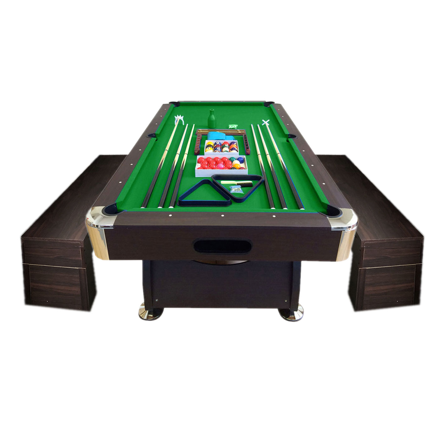 Terrific 8 Ft Pool Table Billiard With Container Benches Vintage Green Pdpeps Interior Chair Design Pdpepsorg