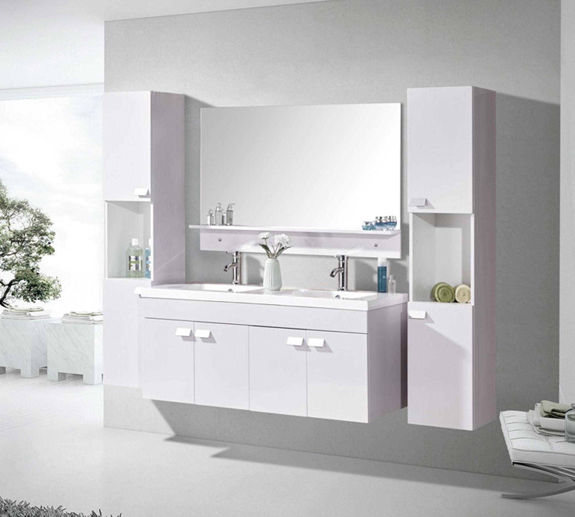 White elegance meuble de salle de bain 120 cm colonnes for Arredo bagno mobili senza lavabo