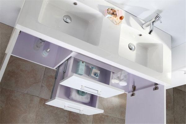 White malibu meuble de salle de bain 150 cm colonne et for Colonne salle de bain 150cm