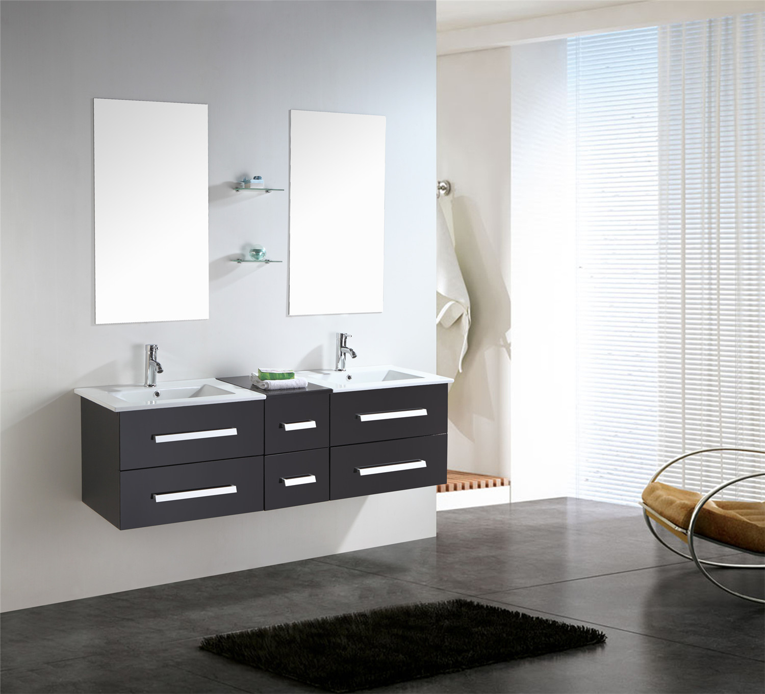 rome meuble de salle de bain 150 cm lavabo inclus simbashoppingfr. Black Bedroom Furniture Sets. Home Design Ideas