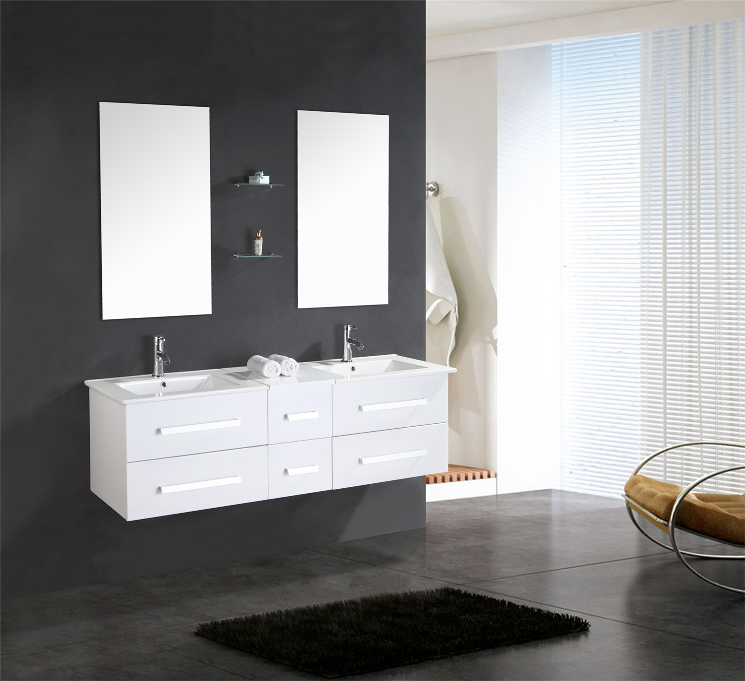 white rome meuble de salle de bain 150 cm lavabo inclus simbashopping france. Black Bedroom Furniture Sets. Home Design Ideas