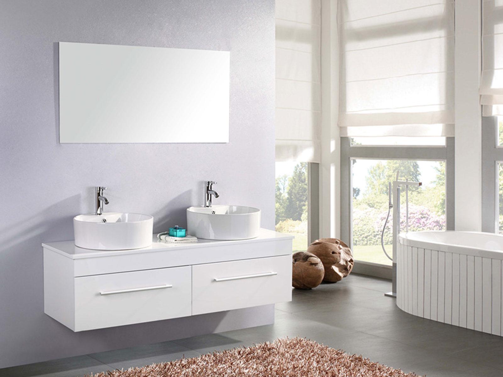 White cardellino meuble de salle de bain 150 cm lavabo inclus - Meuble de salle de bain 150 cm ...