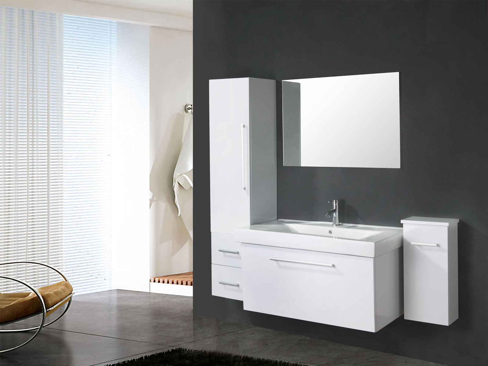 White london meuble salle de bain 100 cm lavabo e for Mobili bagno lavabo grande