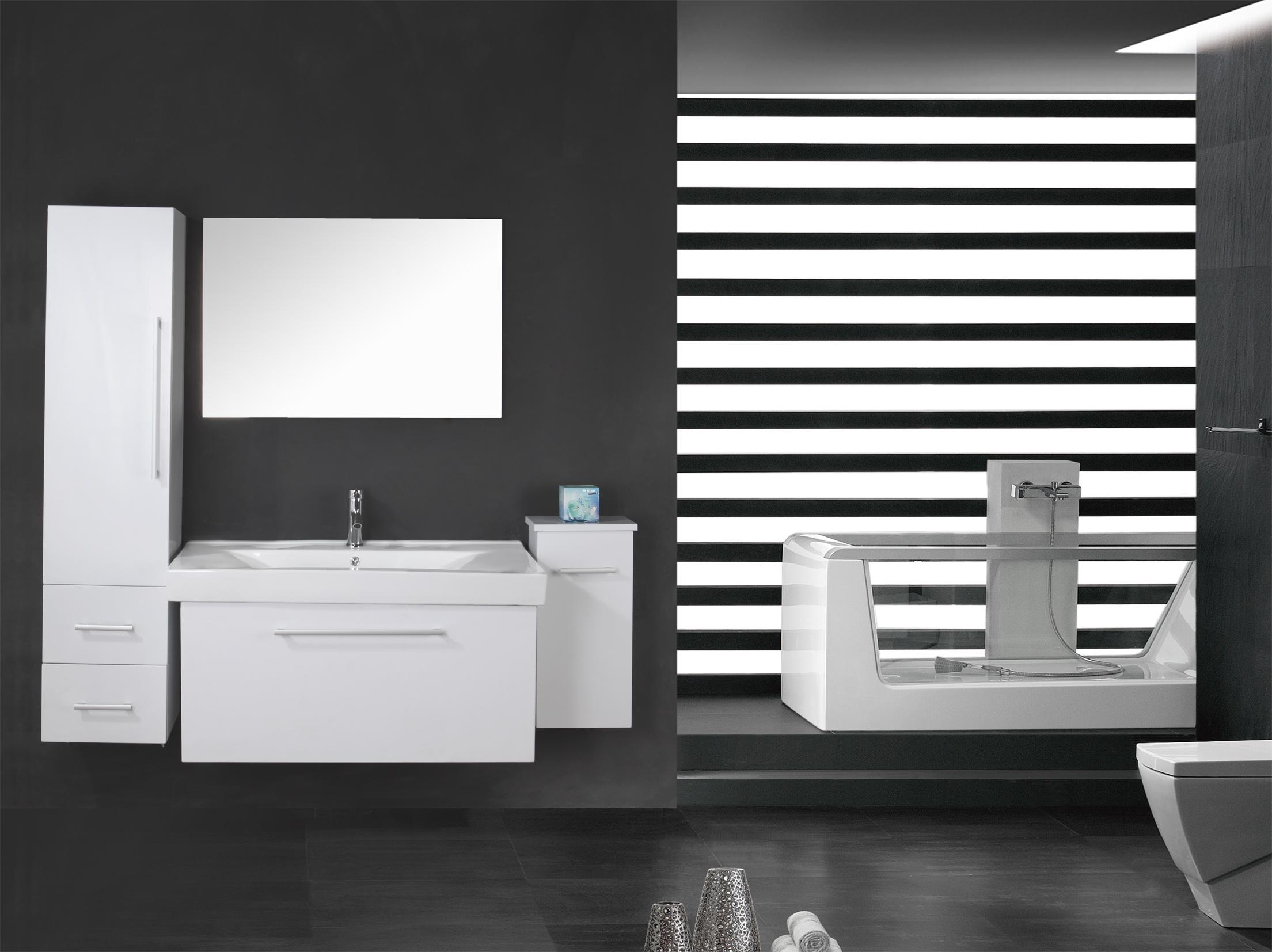 white london meuble salle de bain 100 cm lavabo e colonne compris. Black Bedroom Furniture Sets. Home Design Ideas