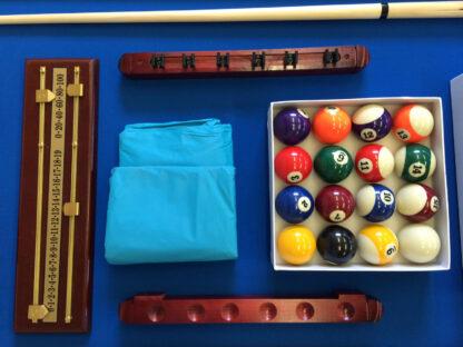 Biliardo 8 piedi con accessori per carambola e snooker panno blu