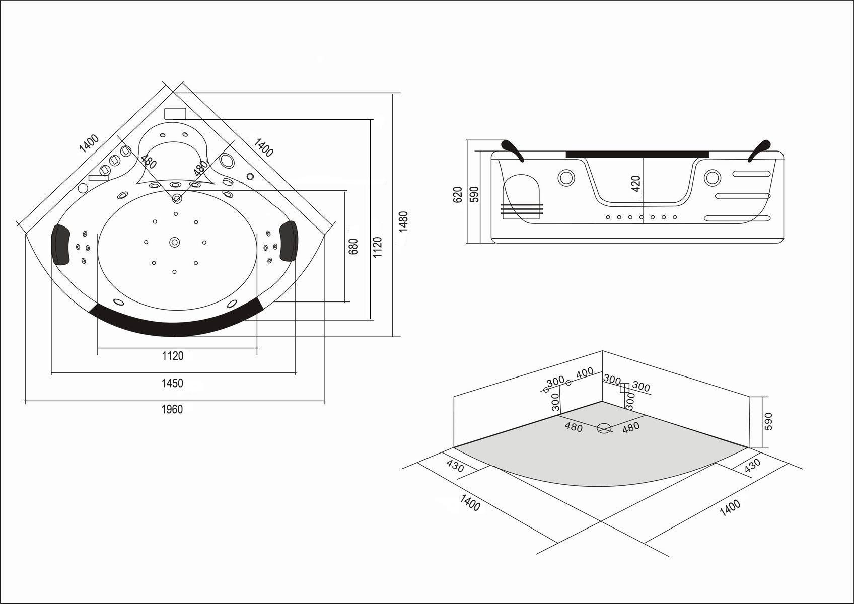 Vasche Idromassaggio Misure E Prezzi vasca idromassaggio angolare per 2 persone 140 x 140 cm - majestic
