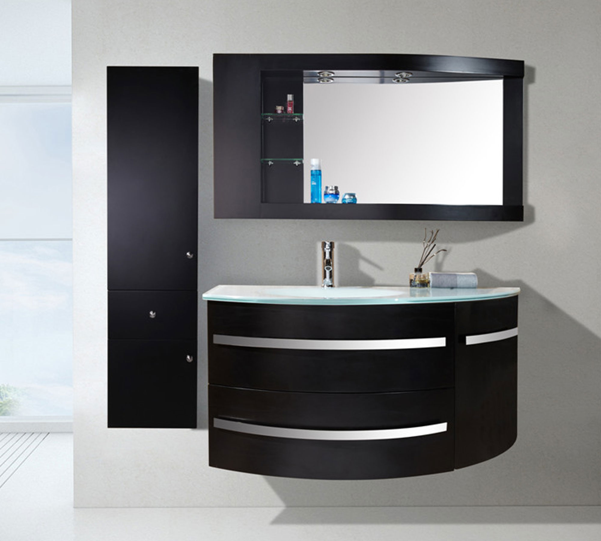 Black ambassador mobile bagno arredo bagno 120 cm colonna e lavabo inclusi - Mobili bagno black friday ...