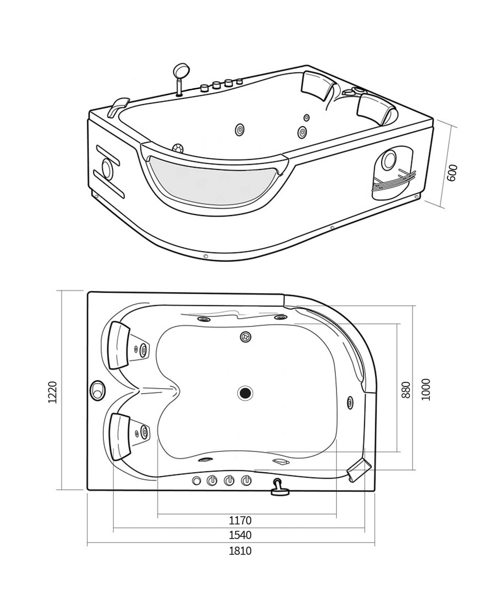 Orion vasca idromassaggio angolare 120 x 180 cm per 2 - Brico vasche da bagno ...