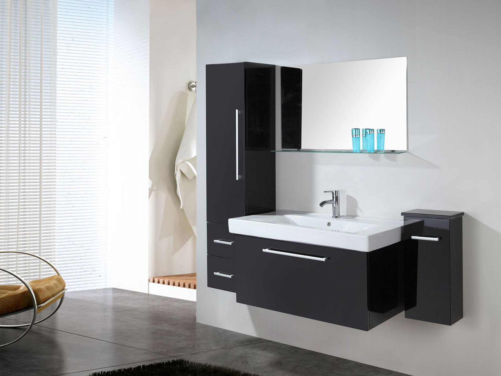 London - Mobile bagno arredo bagno 100 cm lavabo e colonne incluse ...