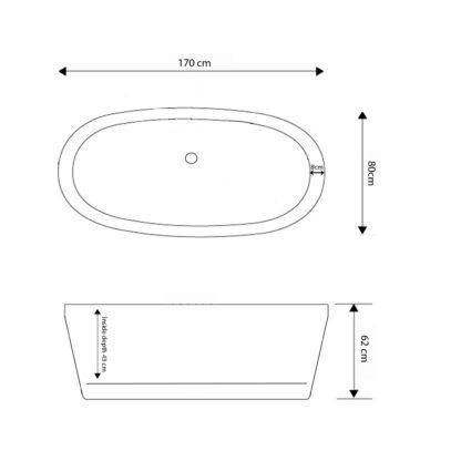Vasca da Bagno Freestanding Moderna 170 x 80 cm Cleopatra disegno tecnico