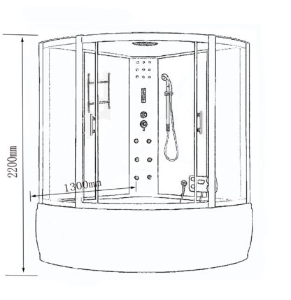 Milan – Vasca Cabina Doccia idromassaggio angolare 130 x 130 cm