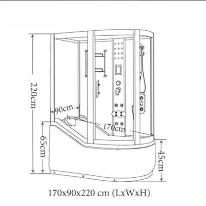 Milan – Vasca Doccia idromassaggio angolare 130 x 130 cm colonna centrale disegno tecnico