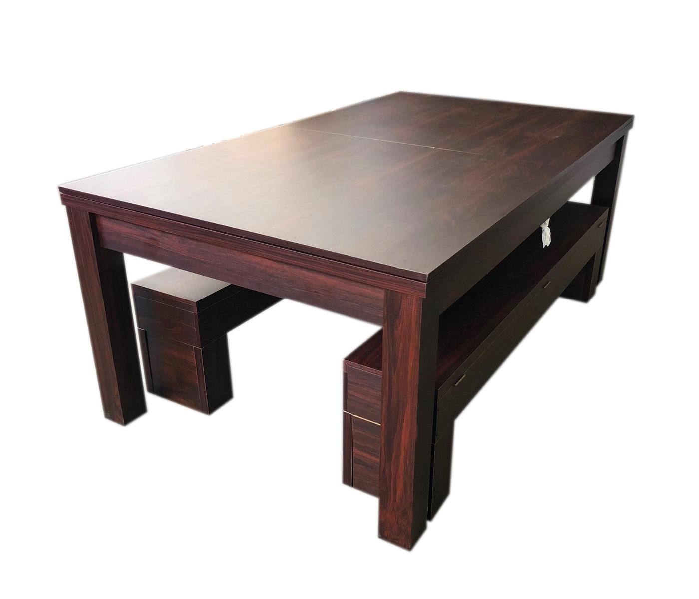 Tavolo da biliardo 7 piedi diventa tavolo con panche contenitore rich red - Tavolo da pranzo con biliardo ...