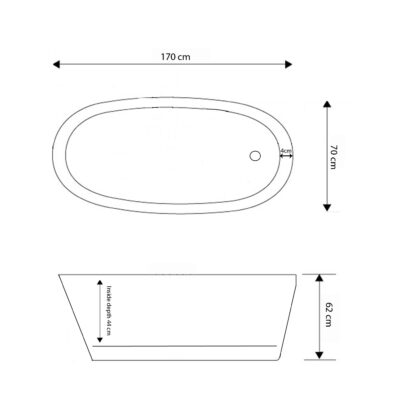 Vasca da Bagno Freestanding Moderna 170 x 70cm – Venere – disegno tecnico
