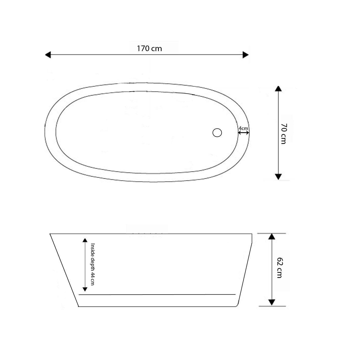 Vasca da bagno freestanding moderna 170 x 70 cm - Vasca da bagno in francese ...